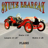 "Full size printed plans Stutz bearcat Scale 1:16  Length 10 1/4""  Width 4 1/8"