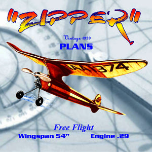 Full Size Printed Plan CARL GOLDBERG'S FAMOUS Vintage 1939  Free flight `ZIPPER'