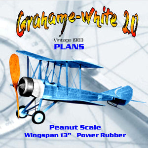 "Full Size Printed Plans Peanut Scale ""Grahame-White 20""  easily adjusted and very stable in flight"
