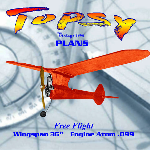 "Full Size Printed Plan From 1946 Free flight ""Topsy"" Wingspan 36""  Original Engine Atom .099"