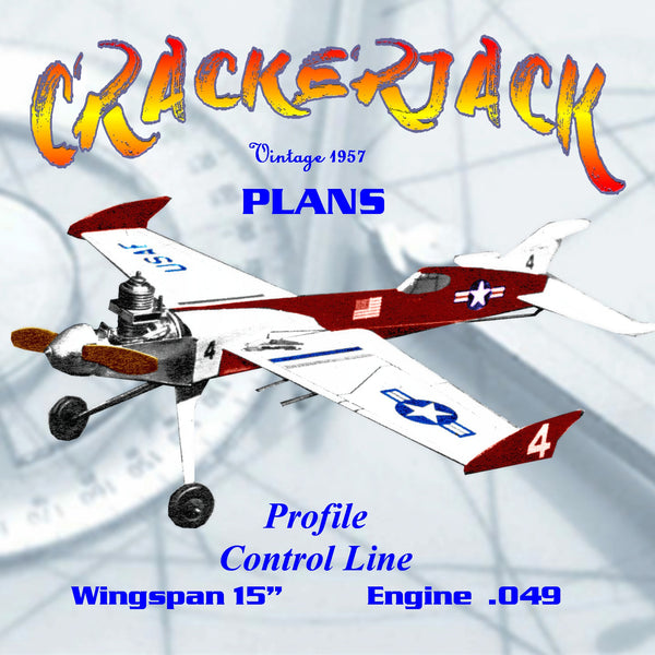 "Full Size Printed Plan 1957 Control line Profile  W/S 15 ""  Engine .049 CRACKERJACK   peppiest little A half‑A"