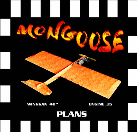 "Full Size Printed Plan & Building Notes  Slow Combat *MONGOOSE* W/S 40""  ENGINE .35"