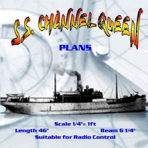 "Full Size Printed Plan Scale 1/4""= 1ft  Steamer ""S.S. CHANNEL QUEEN"" Suitable for Radio Control"