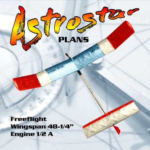"Vintage plan from 1987  1/2A 48 1/4"" W/S Freeflight ASTROSTAR  can be built by a novice"
