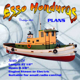 "Full Size Printed Plan Esso Honduras Tug 27 1/2"" 1:24 scale for radio control"