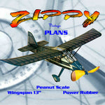 "Full size printed plans Peanut Scale ""ZIPPY SPORT""  blends into the sky too well on those long flights"