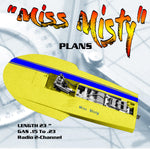 "Full size Printed Plans Hydro For Closed Course Racing ""Miss Misty"" for 2-Channel"