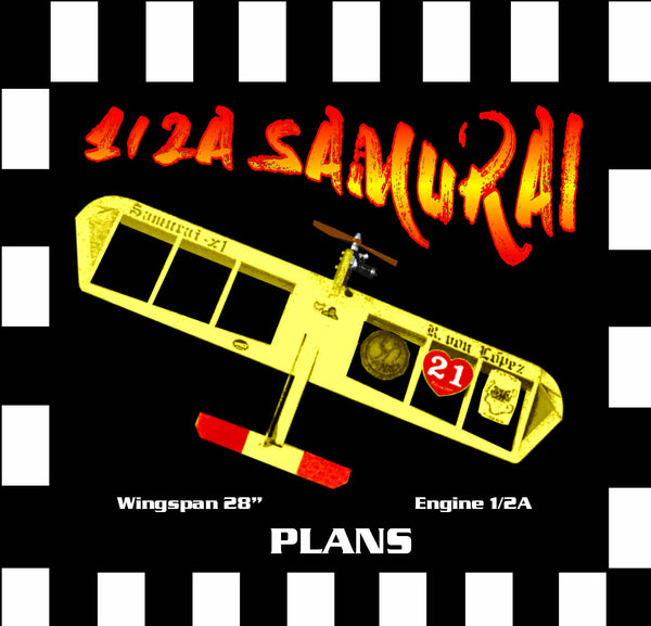"Full Size Printed Plan & Building Notes *1/2A Combat SAMURAI* W/S 28"" ENGINE 1/2A"