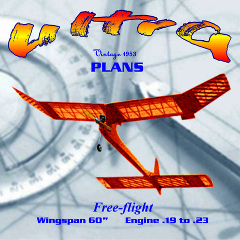 "Full Size Printed Plan From 1953 contest design free flight ""Ultra"""