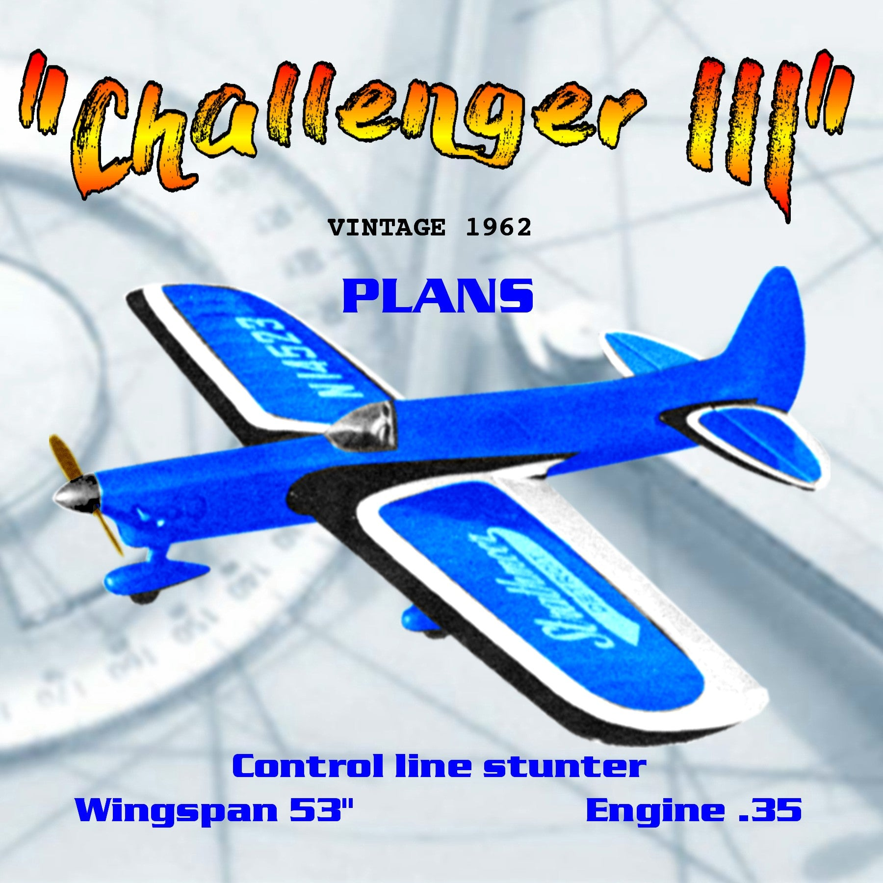 "Full Size Printed Plan vintage 1962 Control line stunter ""Challenger III"" McDonald's great"