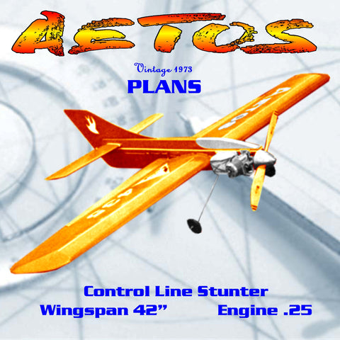 "Printed plan vintage 1973 Control Line Stunter ""AETOS"" profile look does not stop its performance."