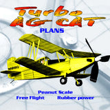 Full Size Printed Plans Peanut Scale Turbo AG CAT Three-bladed prop clears the ground for takeoffs.