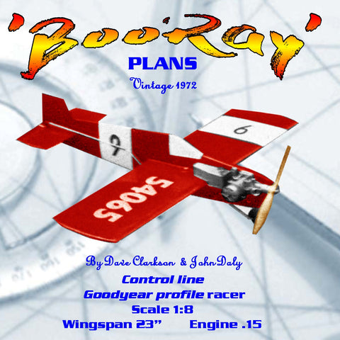 Full Size Printed Plan Vintage 1972 1/8 Scale profile goodyear racer 'BooRay' proven contest performance