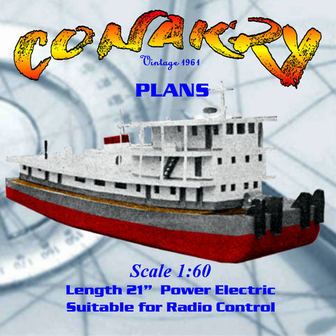 Full Size Printed Plan African push tug Conakry Scale 1:60  Length 21 Suitable for Radio Control