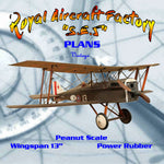 "Full size printed plans Peanut Scale ""SE.5"" ideal rubber-powered bipe."
