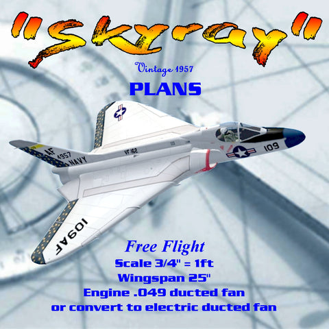 "Full Size Printed Plan Scale 3/4"" = 1ft Reproduced Berkeley Skyray  .049 or electric ducted fan"