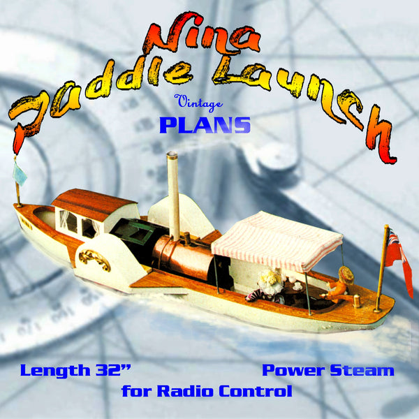 """FULL SIZE PRINTED PLANS freelance steam launch Length 32"""" Power Steam For  Radio control"""