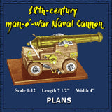 "Full size Printed Plan 18th-century man-o'-war Naval Cannon Scale 1:12  Length 7 1/2""  Width 4"""