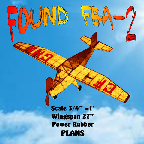 "Full size printed plan Found FBA-2  Scale ¾"" =1'  Wingspan 27"" Power Rubber"