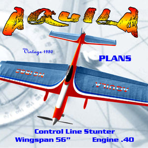 "Full Size Printed Plan  Vintage 1980 Control Line Stunt ""AQUILA"" Aquila is a fairly conventional design"
