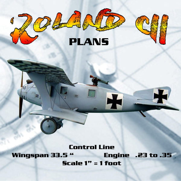 "Full Size  PLANS  Control Line  Scale 1"" = 1' Roland ""Wahlfisch"" CII  Wingspan 33.5 Inches  Engines .23 to .3"