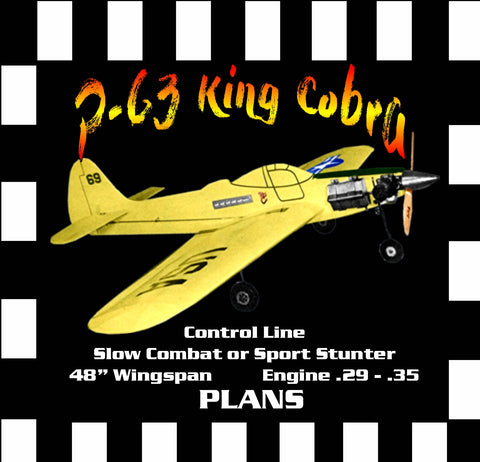 "Full Size Printed Plan SLOW COMBAT or SPORT STUNTER ""P-63 King Cobra"" Profile"