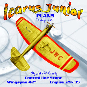 "Full Size Plans Vintage 1951 Control line Stunter ""Icarus Junior"" VERSION OF THIS FAST STREAMLINED STUNTER"