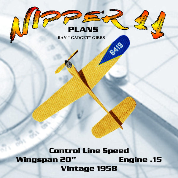 "Full Size Printed Plan  Vintage 1958 Control Line Speed ""NIPPER II"" Wingspan 20""  Engine .15"