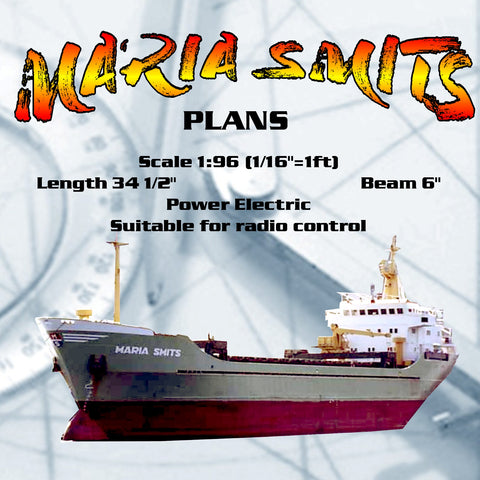 Full size Printed Plans modern Dutch Coaster Scale 1:96 MARIA SMITS Suitable for radio control