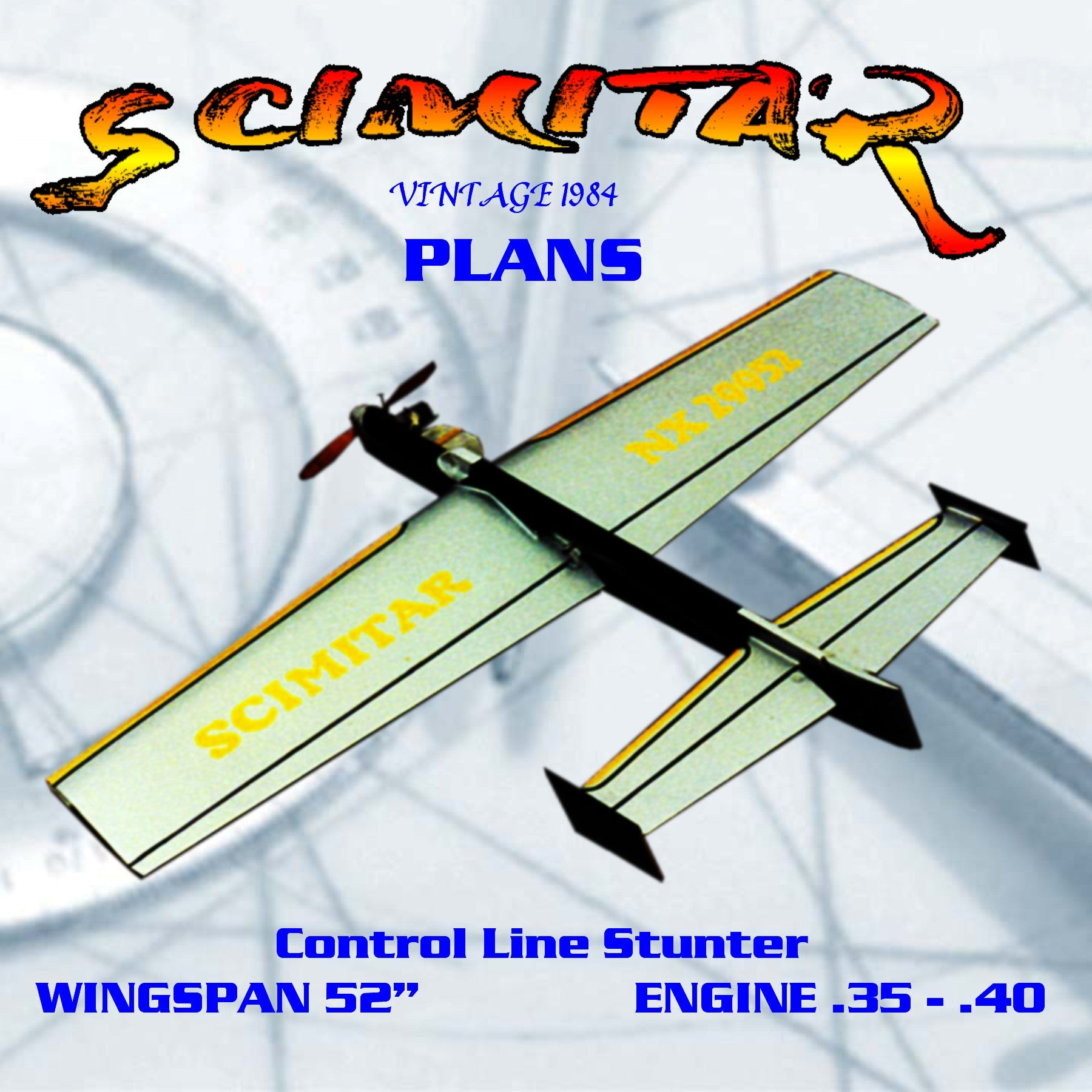 Full size printed plan Vintage 1984 Control Line Stunter  .35 - .40 SCIMITAR   constructed for easy repair in the event of damage.