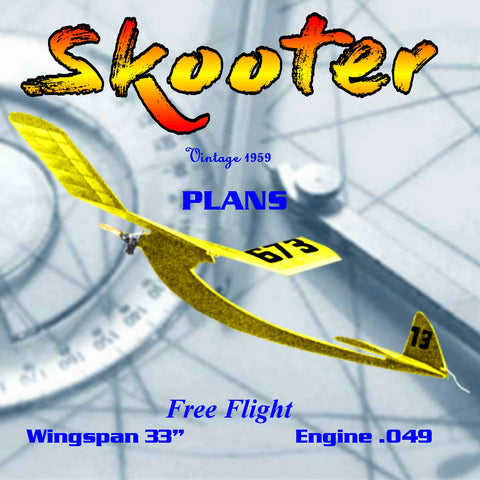 "Full Size Printed Plan 1959  high-thrust Free Flight Skooter Wingspan 33""  Engine ½ A"