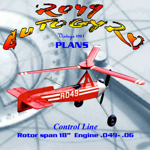 "Full Size Printed Plan Control line  R049 AUTOGYRO Rotor span 18""   for.049 - .06"