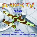 Full Size Printed Plan FOKKER T.V. profile scale model of a pre-World War II twin-engine