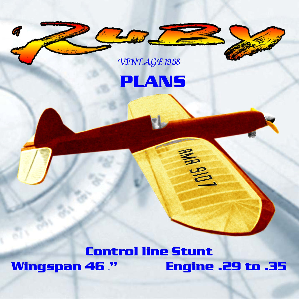 Full size Printed Plans Vintage 1958 Control line Stunt  29 to  35 RUBY  exceptionally good flyer