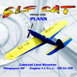Full Size Printed Plan vintage 1959 Control Line Stunter ELF CAT easy-to-build good looker