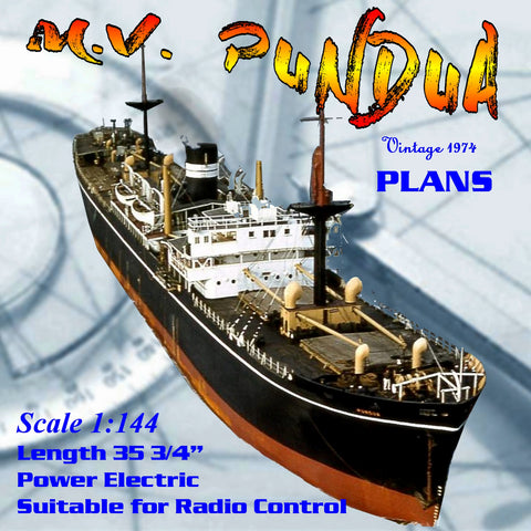 "Full Size Printed Plan WWII TRAMP STEAMER 1:144 SCALE 35""  M.V. PUNDUA suitable for Radio Control"