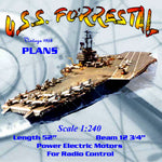 Full Size Printed Plan Vintage 1958 Scale 1:240 Aircraft Carrier U.S.S. FORRESTAL  what a model she makes!