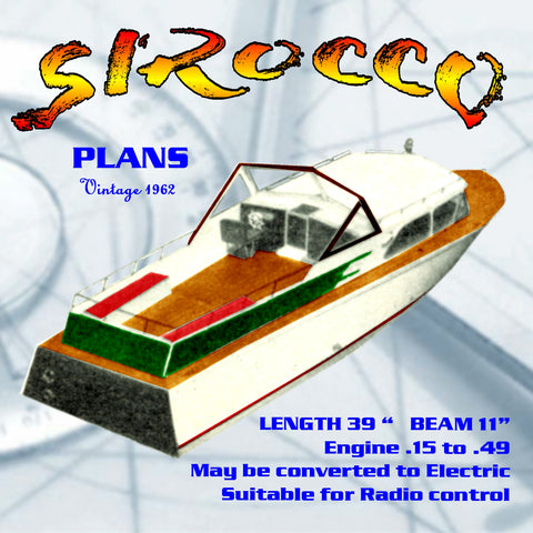 "Full Size Printed Plan Near-scale vintage cabin cruisers ""SIROCCO"" suitable fo radio control"