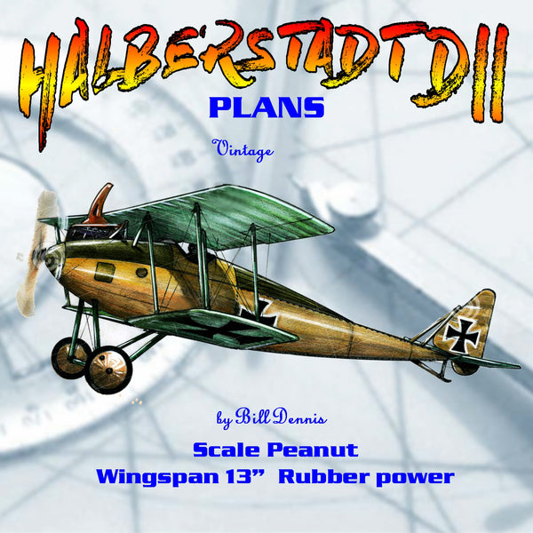 Full size printed plans  Peanut Scale HALBERSTADT DII quick-to-build Peanut version