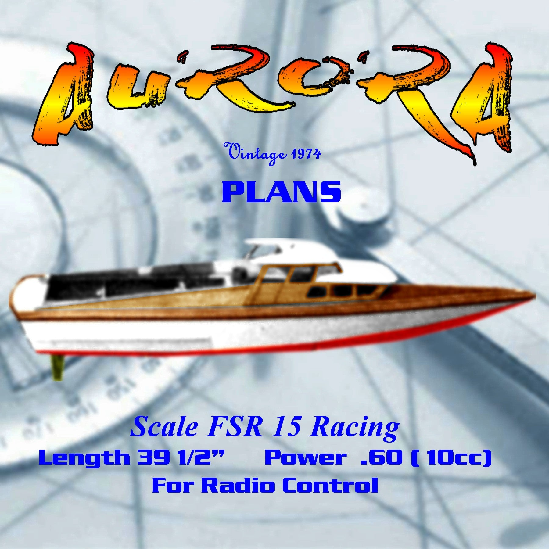 "Full Size Printed Plan fast design for ""AURORA"" FSR15 racing Engine .60 motors for Radio Control"