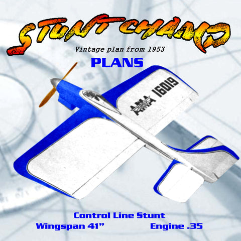 Full Size Plan Vintage 1953 .35 Control Line Stunt STUNT CHAMP WINNER OF AIR TRAILS PERPETUAL TROPHY