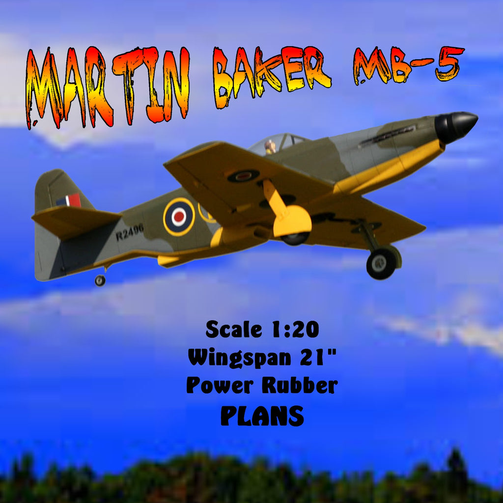 Full size printed plan Martin Baker MB-5 Scale 1:20 Wingspan