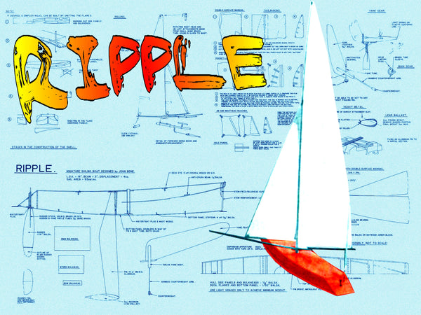 Full Size Printed Plans with building Article Miniature sailing boat