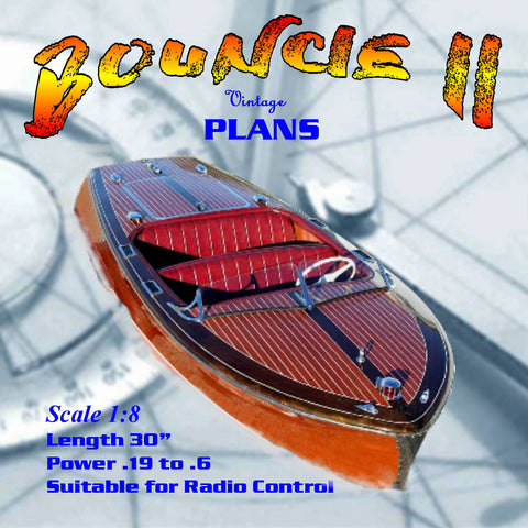 "Full Size Printed Plan CHRIS CRAFT 20' RUNABOUT 30"" Bouncie II 1:8 Scale  for Radio Control"