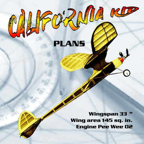 full size printed plan Vintage 1980 Free flight CALIFORNIA KID zesty performance on its Pee Wee 02