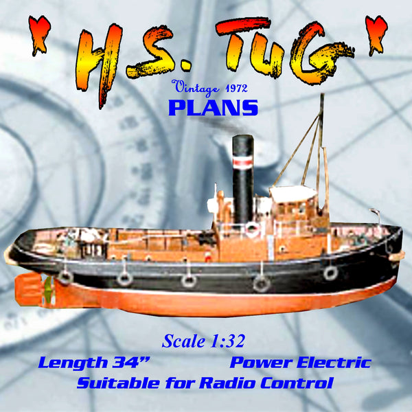 "Full Size Printed Plans Scale 1/32 single screw  L 34"" Suitable for Radio Control"