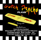 "Full Size Printed Plan vintage 1999 Control Line Combat fast or Slow ""Gotcha Psycho""  lots of state‑of‑the art features"