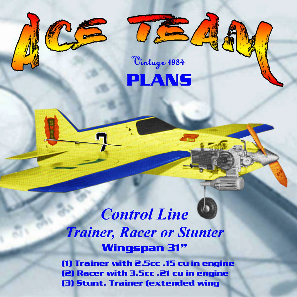 Full Size Printed Plan Trainer, Racer or Stunter a control line model for  everyone