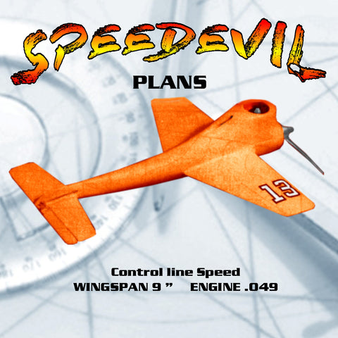 "Full Size Printed Plan  1/2 A Control Line Speed SPEEDEVIL WINGSPAN 9 ""  ENGINE .049"