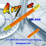 "Full Size Printed Plan 54"" span A/1 glider for contest or sport ""AmI"""